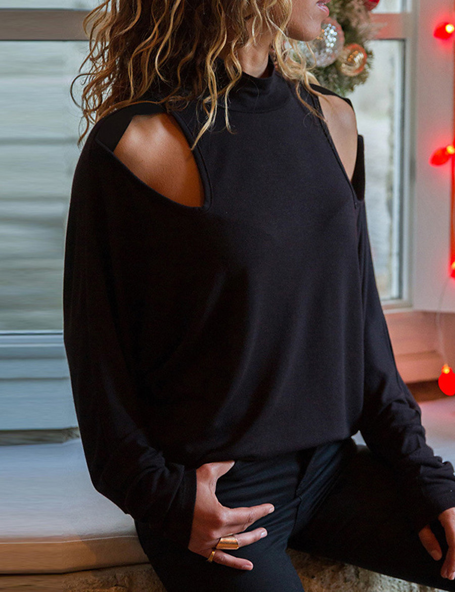 Women's Going out Blouse Solid Colored Long Sleeve Cut Out Standing Collar Tops Loose Elegant Basic Top Black