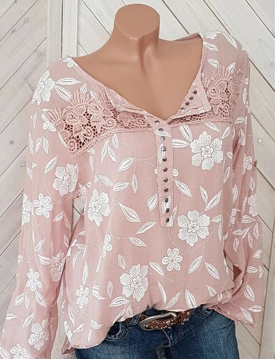 Women's Floral Print Blouse Causal Black / Blue / Red / Yellow / Blushing Pink / Gray