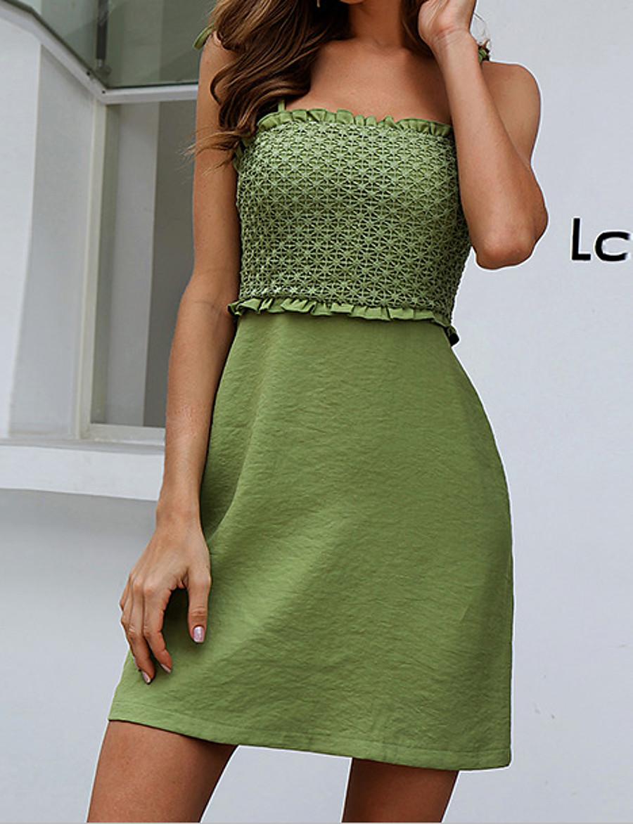 Women's Strap Dress Short Mini Dress - Sleeveless Solid Color Ruffle Summer Square Neck Casual Mumu Beach Cotton Slim Linen Green S M L