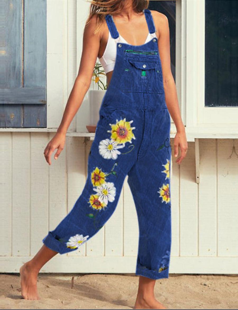 Women's Streetwear Strap Blue Gray Light Blue Jumpsuit Floral Cotton