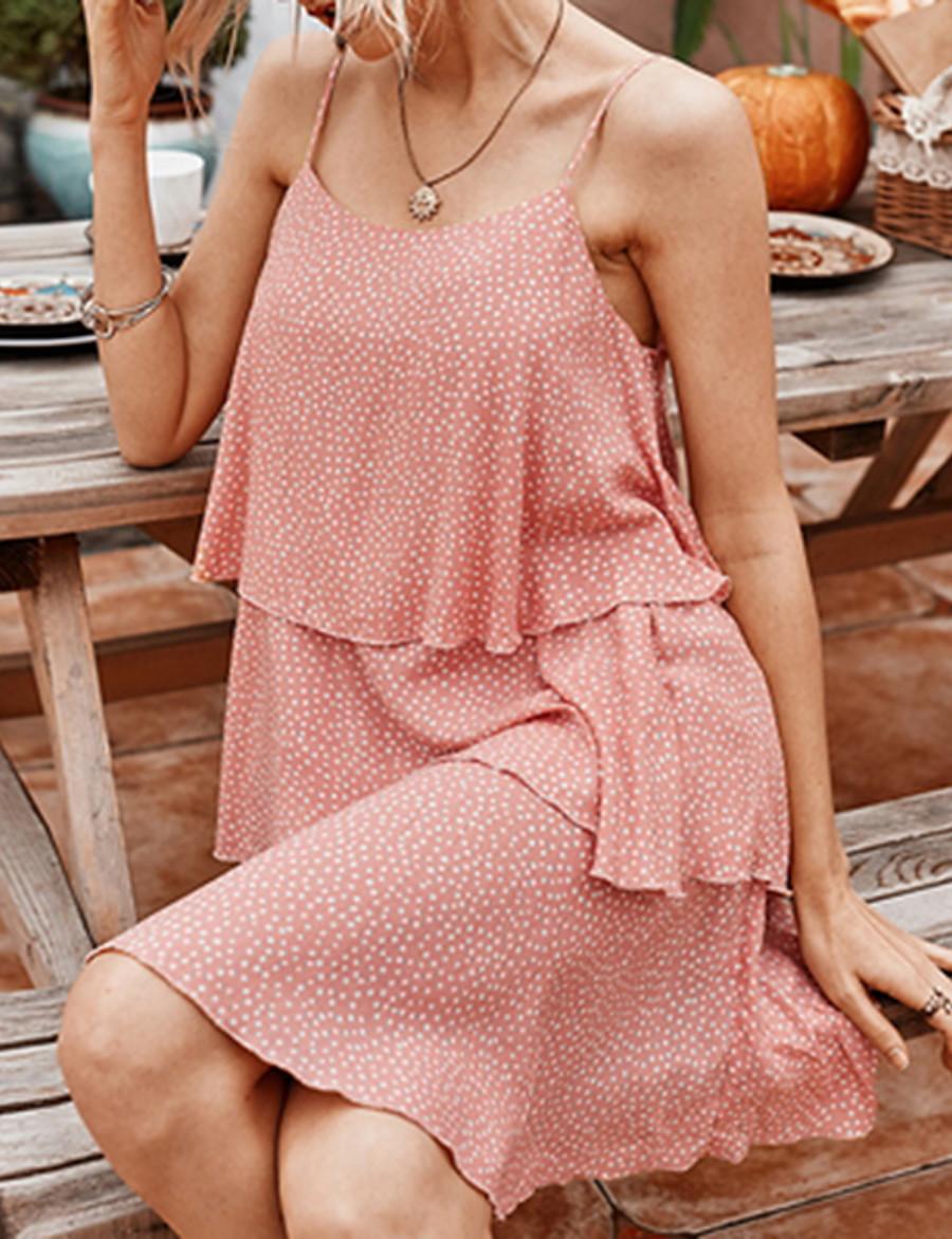 Women's Strap Dress Short Mini Dress - Sleeveless Polka Dot Summer Elegant 2020 White Blue Blushing Pink S M L XL