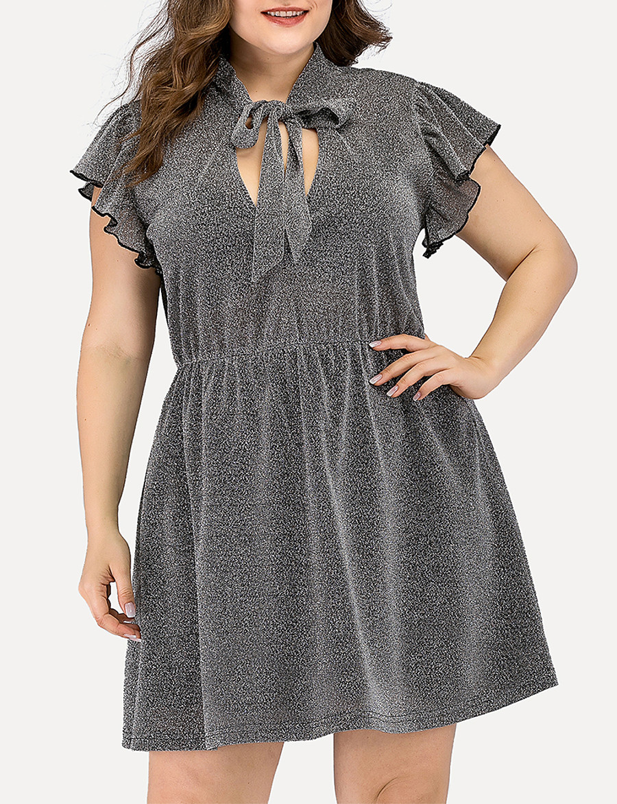 Women's A-Line Dress Short Mini Dress - Short Sleeve Solid Color Ruched Split Summer V Neck Plus Size Casual Elegant Going out 2020 Gray L XL XXL 3XL 4XL