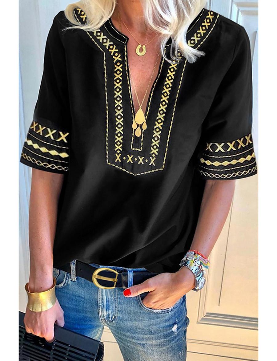 Women's Blouse Shirt Geometric Patchwork Print V Neck Tops Basic Top Black Blue Green