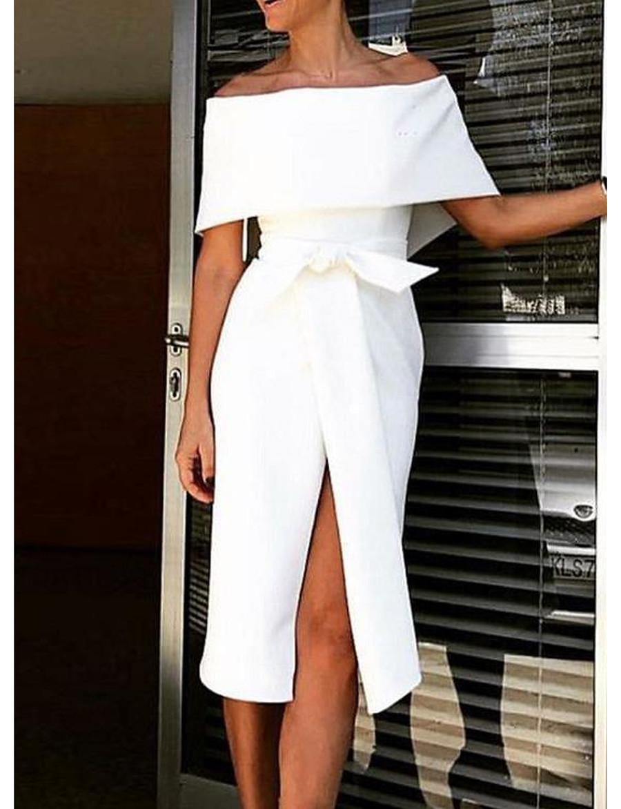 Women's Sheath Dress Midi Dress - Half Sleeve Floral Summer Off Shoulder Elegant Hot Slim 2020 White S M L XL XXL 3XL