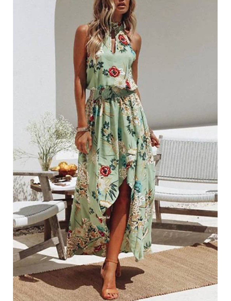 Floral Print Sundress Women's Floral Party Beach BohoSundress Floral Backless Split Print Halter Neck Summer Cotton Green M L XL Sexy