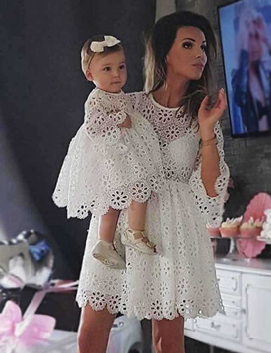 Dresses Lace Mommy and Me Party Solid Colored Flower Hollow Out White Knee-length Half Sleeve Wedding Flowers Matching Outfits / Sweet / Cotton