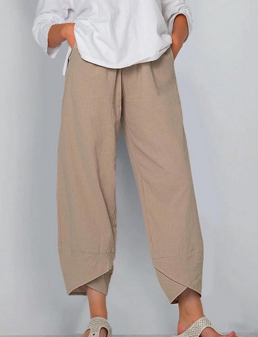 Femme basique Grandes Tailles Coton Ample Chino Pantalon Couleur Pleine Noir Kaki Bleu Poudré
