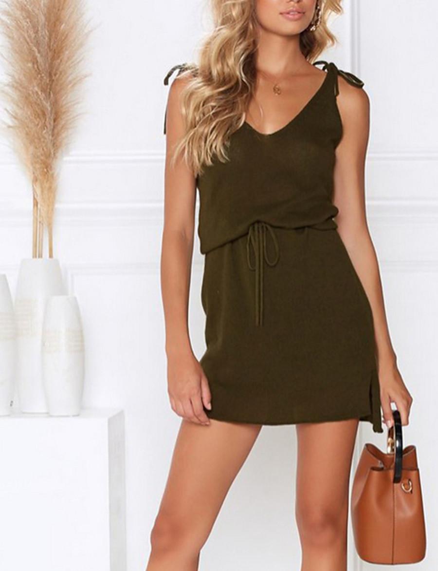 Women's Strap Dress Short Mini Dress - Sleeveless Solid Color Summer Elegant 2020 Blushing Pink Army Green S M L XL