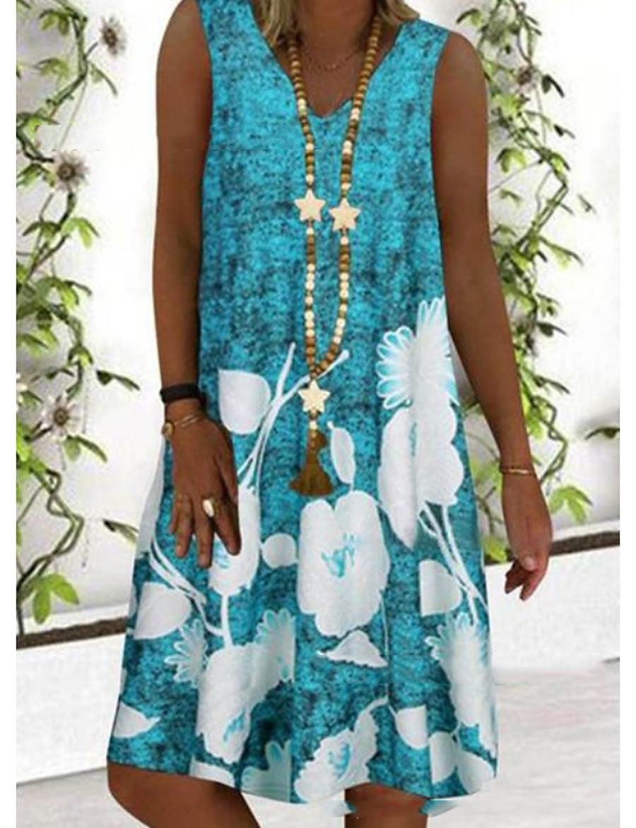 Women's A Line Dress Short Mini Dress Blue Gray Sleeveless Floral Print Summer V Neck Hot Casual Holiday Plus Size 2021 S M L XL XXL 3XL 4XL 5XL