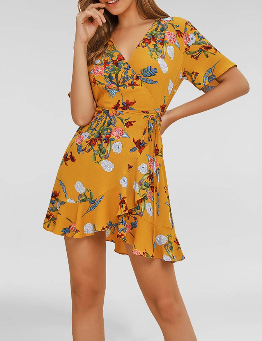 Women's Basic Sheath Dress - Floral Ruffle Patchwork Print Yellow L XL XXL