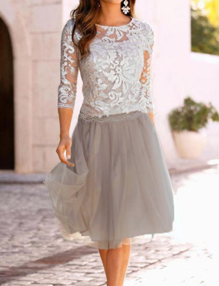 Women's A-Line Dress Knee Length Dress - 3/4 Length Sleeve Lace Mesh Spring & Summer Elegant Going out Lace Beige M L XL XXL XXXL