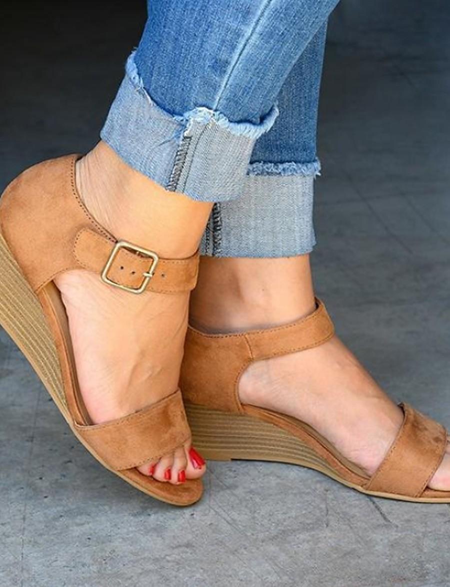 Women's Sandals Wedge Sandals Summer Wedge Heel Open Toe Daily Suede Dark Brown / Black / Yellow