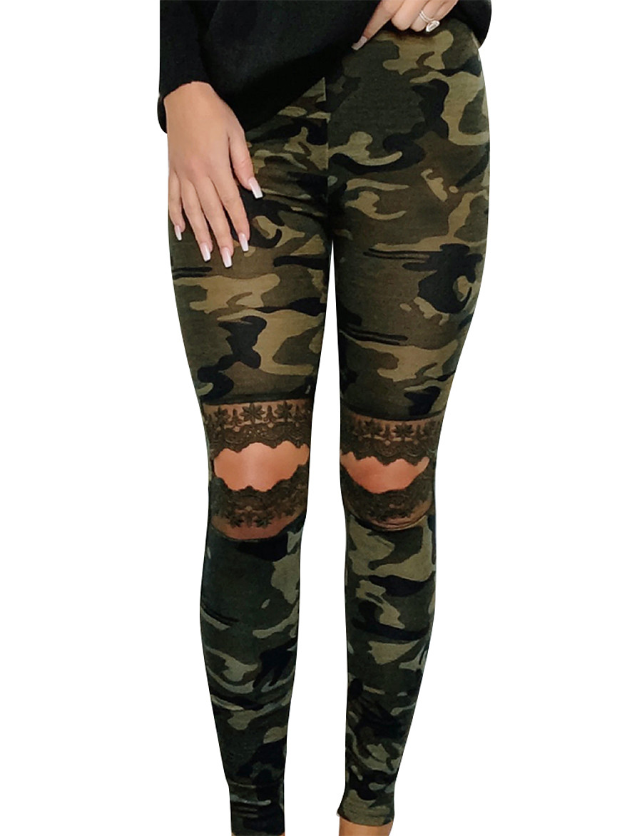 Women's Basic Slim Daily Chinos Pants Print Cut Out High Waist Army Green