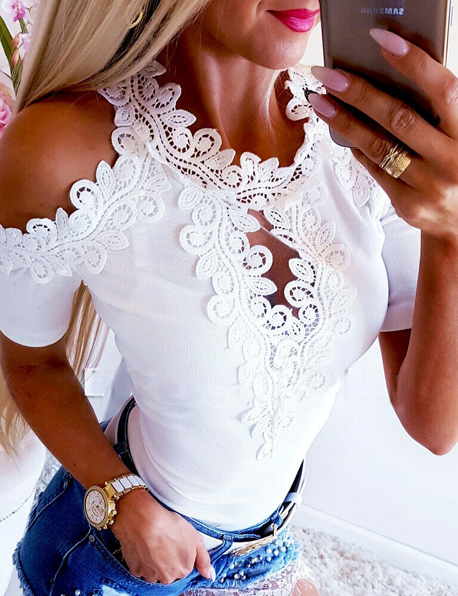 Women's Solid Colored Lace T-shirt Basic Casual White / Red