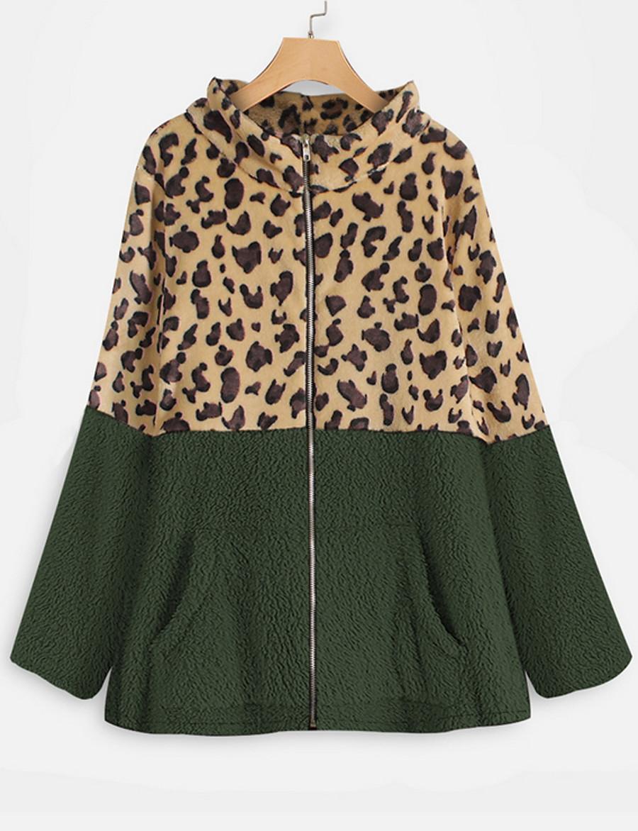Women's Winter Trench Coat Regular Leopard Print Daily Plus Size Black Wine Army Green Gray M L XL XXL