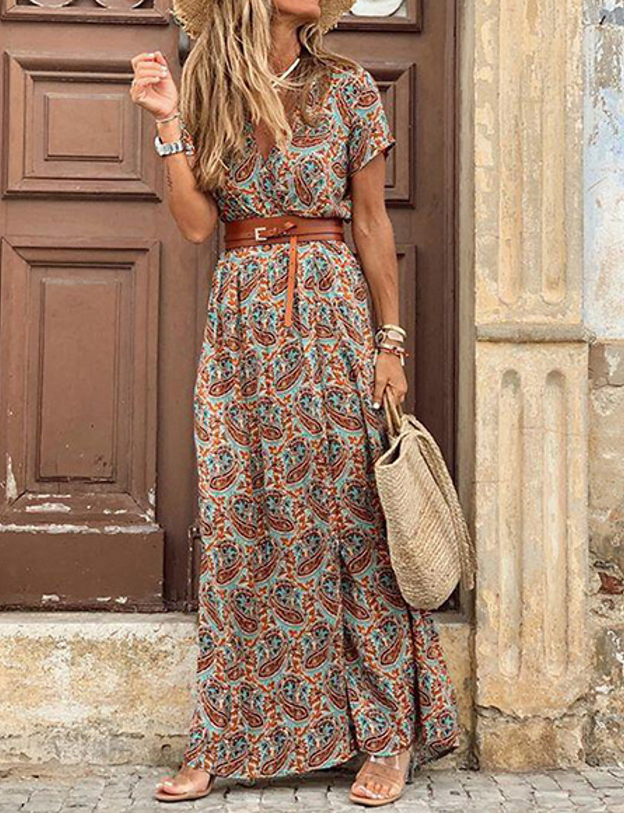 Women's Maxi long Dress - Short Sleeve Paisley Print Summer V Neck Casual Hot Holiday vacation dresses 2020 Blue Red Brown S M L XL XXL 3XL