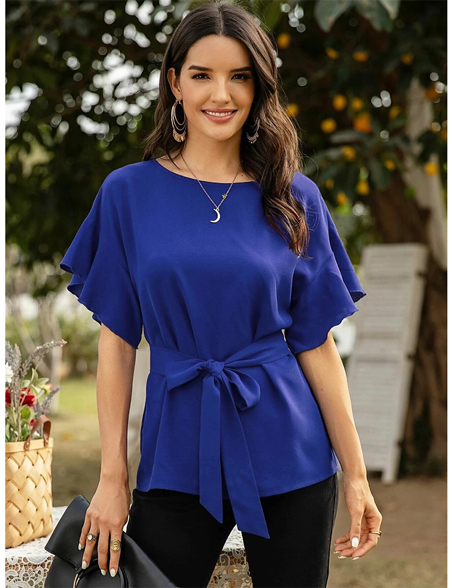 Women's Blouse Shirt Solid Colored Bow Lace up Round Neck Tops Basic Top Blue Red Green