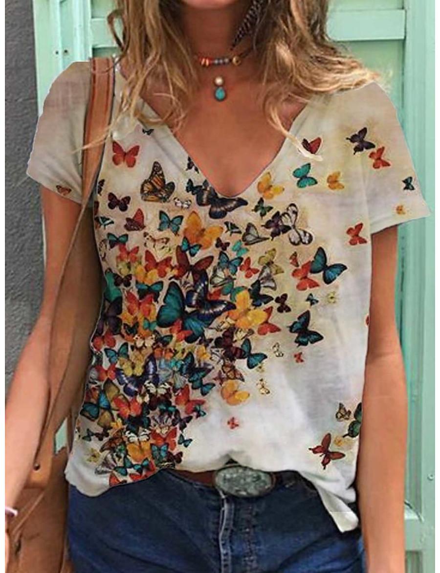 Women's T-shirt Butterfly Print V Neck Tops Loose Cotton Basic Basic Top White