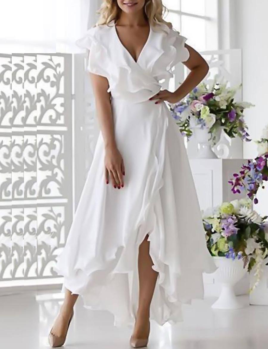 Women's Plus Size Wrap Dress Chiffon Midi Dress - Sleeveless Ruffle Multi Layer Summer Deep V Sexy Holiday Vacation Beach 2020 White Dark Blue S M L XL XXL XXXL XXXXL XXXXXL