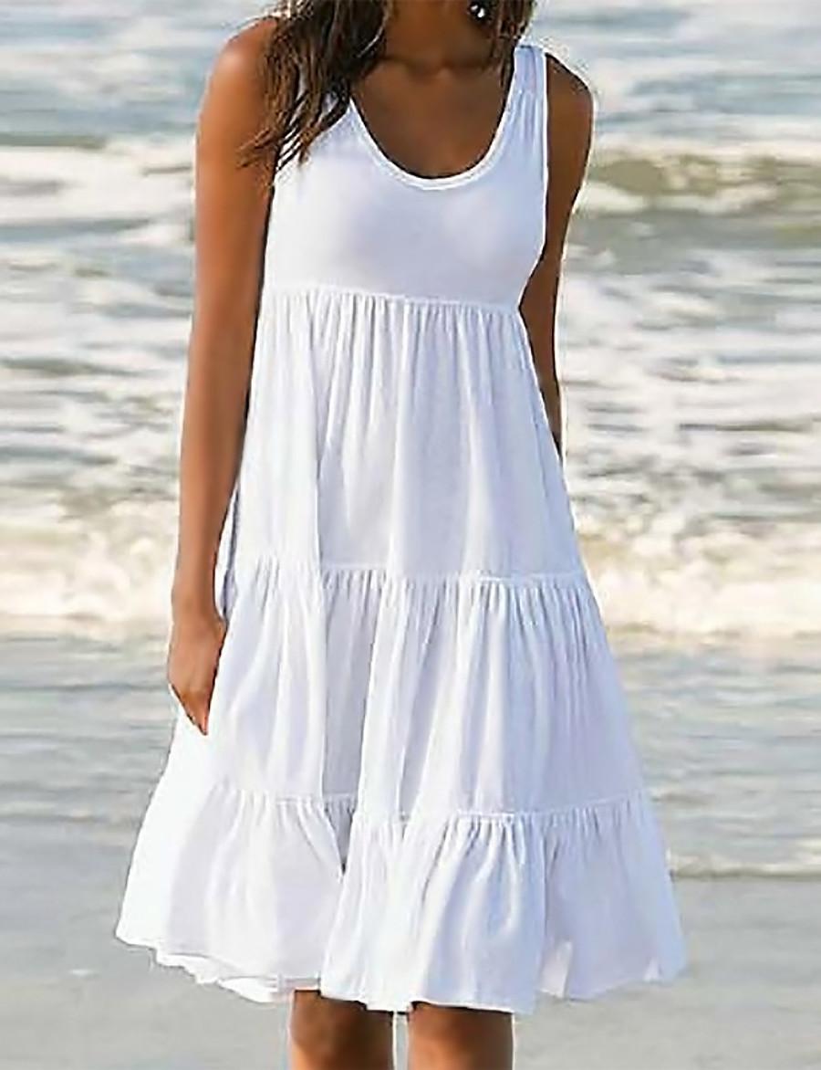 Women's Sundress Knee Length Dress White Blue Yellow Blushing Pink Fuchsia Black Green Sleeveless Solid Color Summer Round Neck Hot Casual Beach vacation dresses 2021 S M L XL XXL 3XL 4XL 5XL