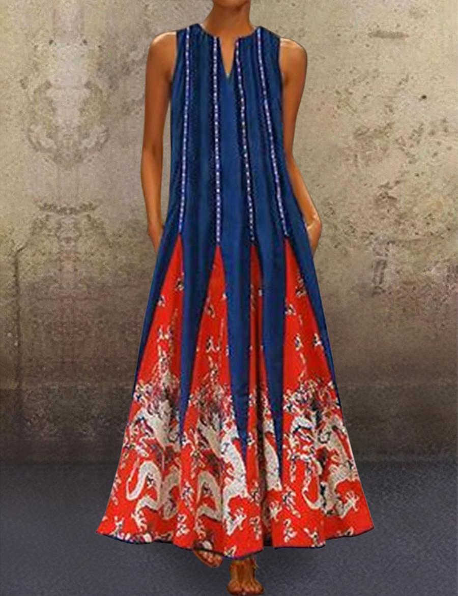 Women's Tunic Maxi long Dress - Sleeveless Tribal Print Summer V Neck Plus Size Casual Holiday 2020 White Black Blue Red Green S M L XL XXL 3XL 4XL 5XL