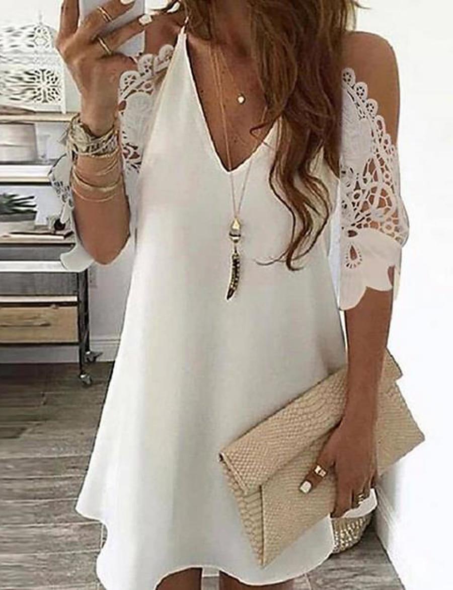 Women's Sundress Short Mini Dress - Short Sleeve Polka Dot Floral Print Summer V Neck Hot Going out vacation dresses 2020 White Black Gold Navy Blue Rainbow Beige S M L XL XXL 3XL 4XL 5XL