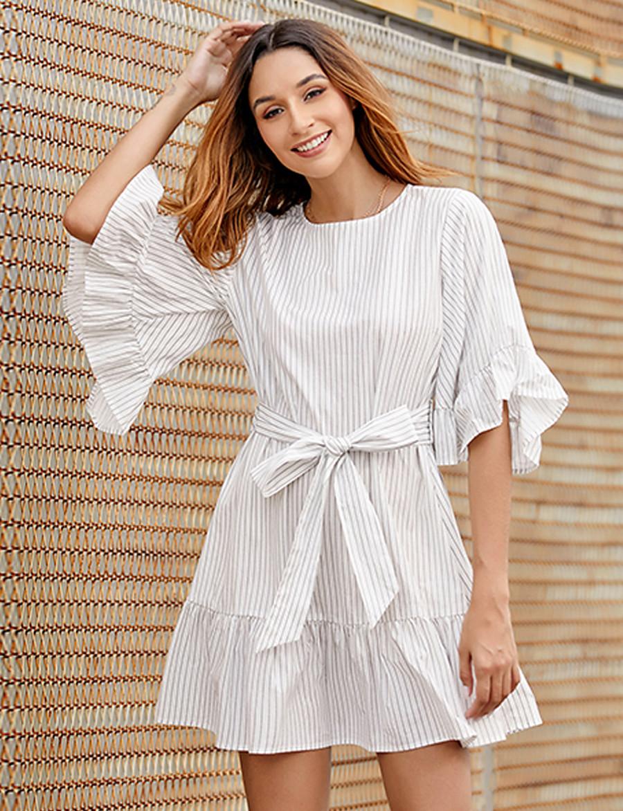 Women's Sheath Dress Short Mini Dress - Half Sleeve Striped Bow Summer Work Elegant Daily Going out Flare Cuff Sleeve 2020 White S M L XL