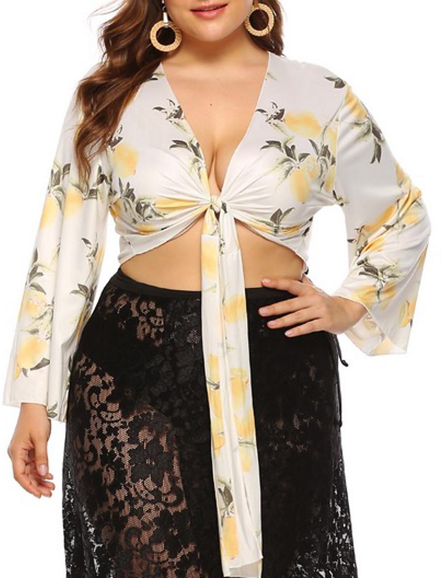 Women's Plus Size Blouse Shirt Floral Flower Long Sleeve V Neck Tops Basic Top Beige