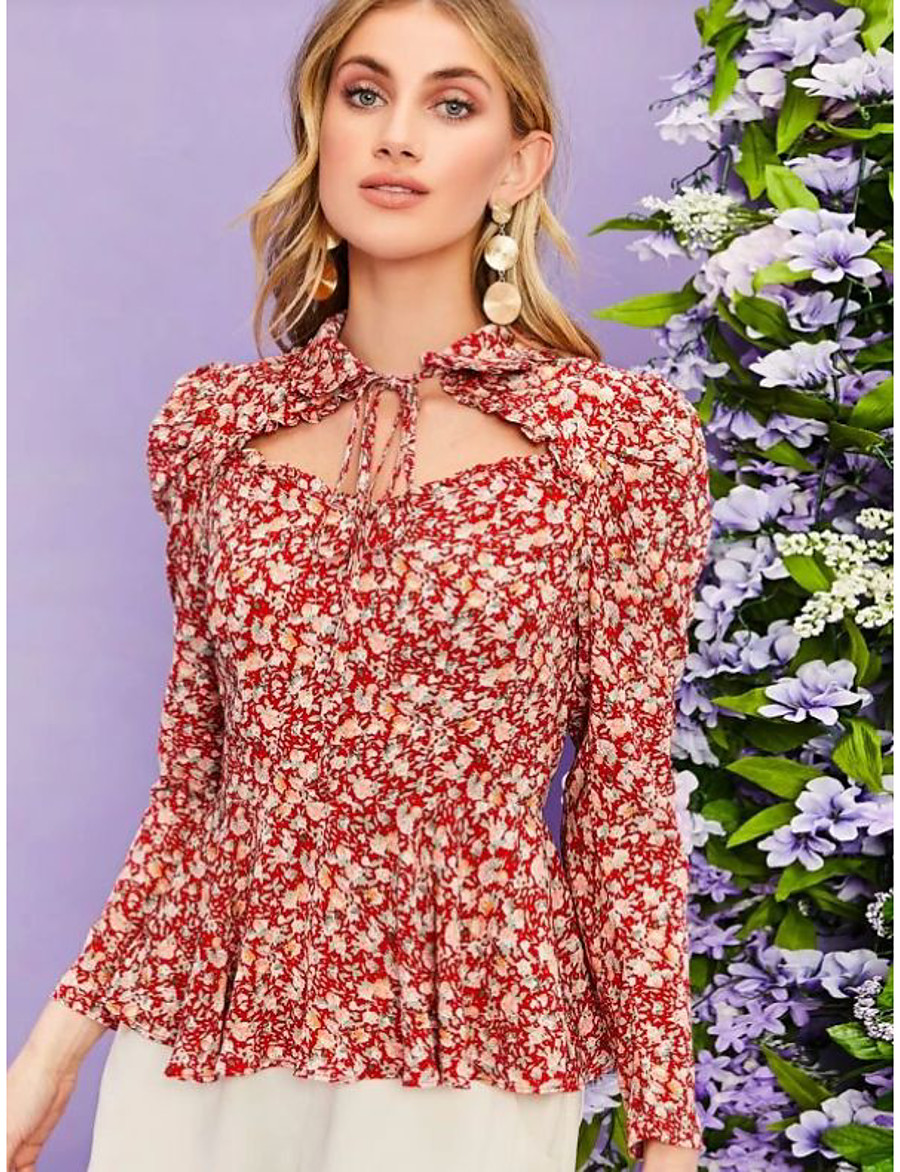 Women's Going out Blouse Shirt Floral Flower Long Sleeve Lace up Print Shirt Collar Tops Elegant Hawaiian Basic Top Red