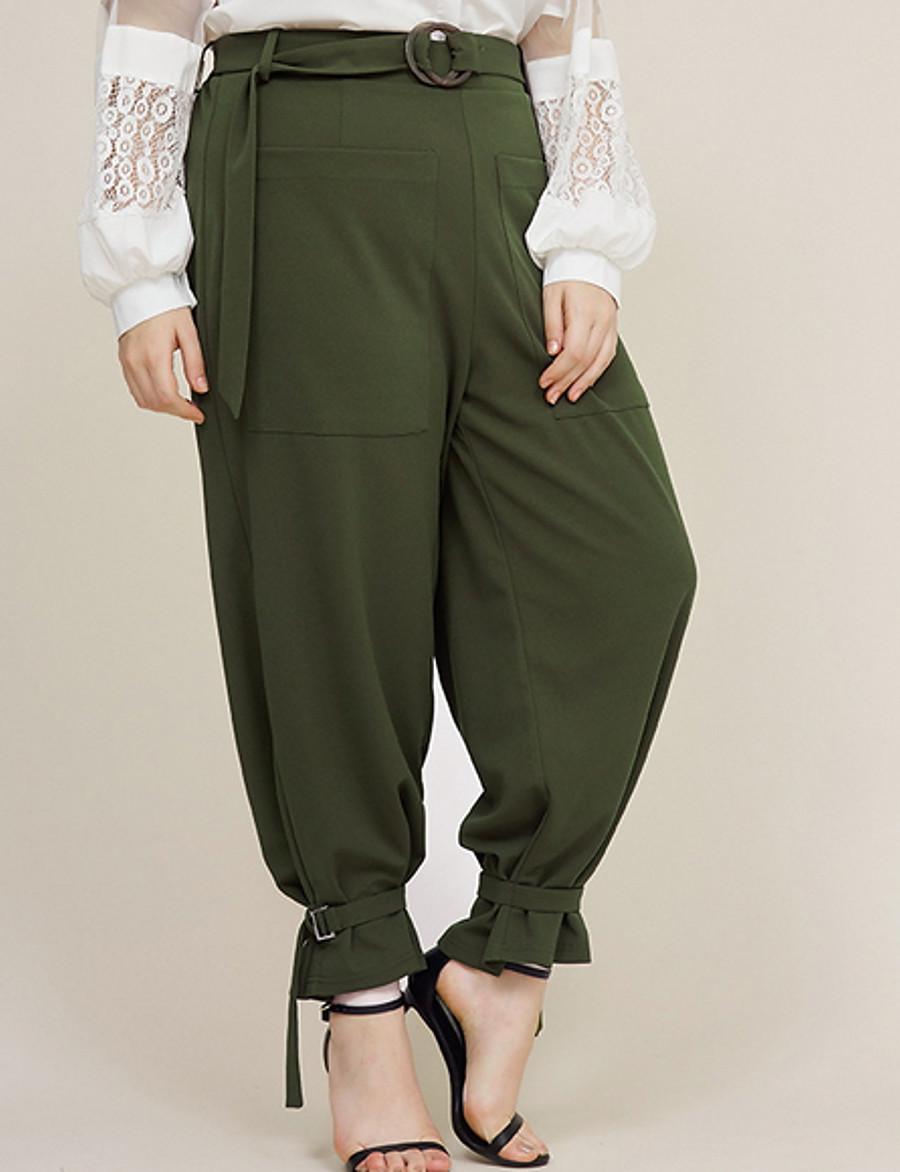 Femme basique Ample Culotte Bouffante Pantalon Couleur Pleine Vert