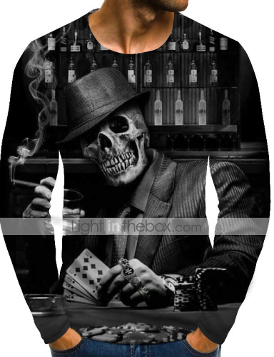 Men's T shirt Shirt Graphic Skull Plus Size Print Long Sleeve Daily Tops Streetwear Exaggerated Round Neck Rainbow