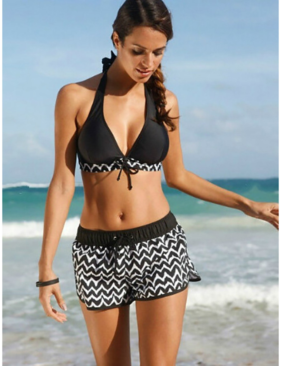 Women's Tankini Swimwear Swimsuit - Geometric S M L Black