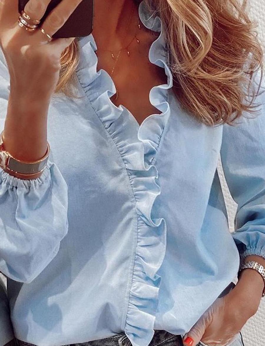 Women's Blouse Shirt Solid Colored Long Sleeve V Neck Tops Loose Basic Top White Blue Orange