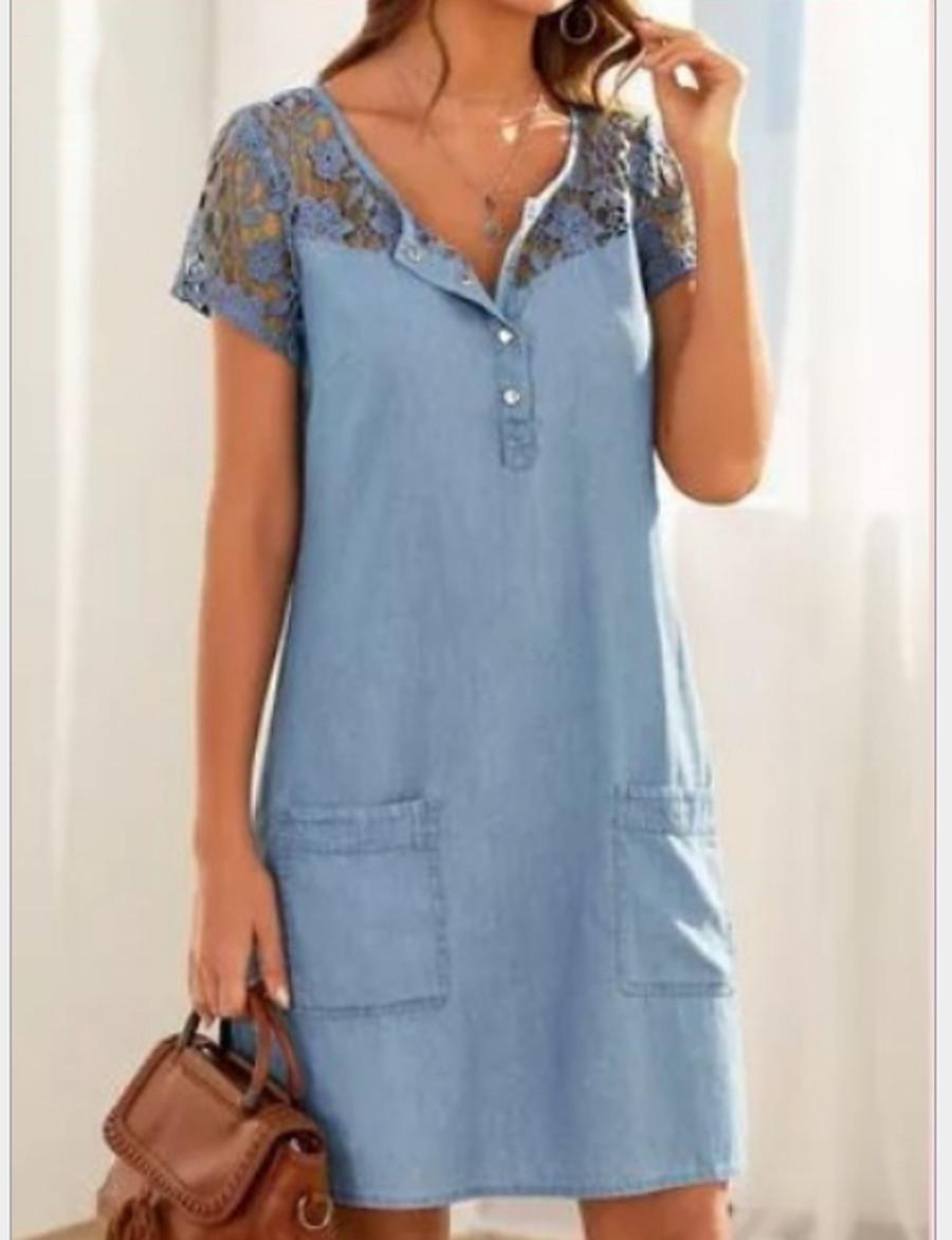 Women's Denim Dress Short Mini Dress - Short Sleeve Lace Pocket Summer V Neck Hot Casual Cotton 2020 Light Blue S M L XL XXL