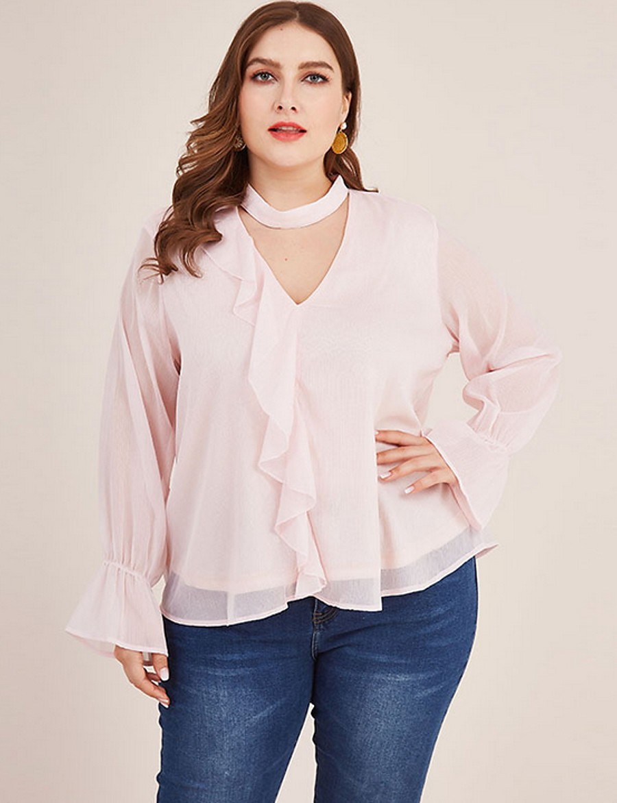 Women's Plus Size Blouse Shirt Solid Colored Long Sleeve V Neck Choker Tops Basic Top Blushing Pink