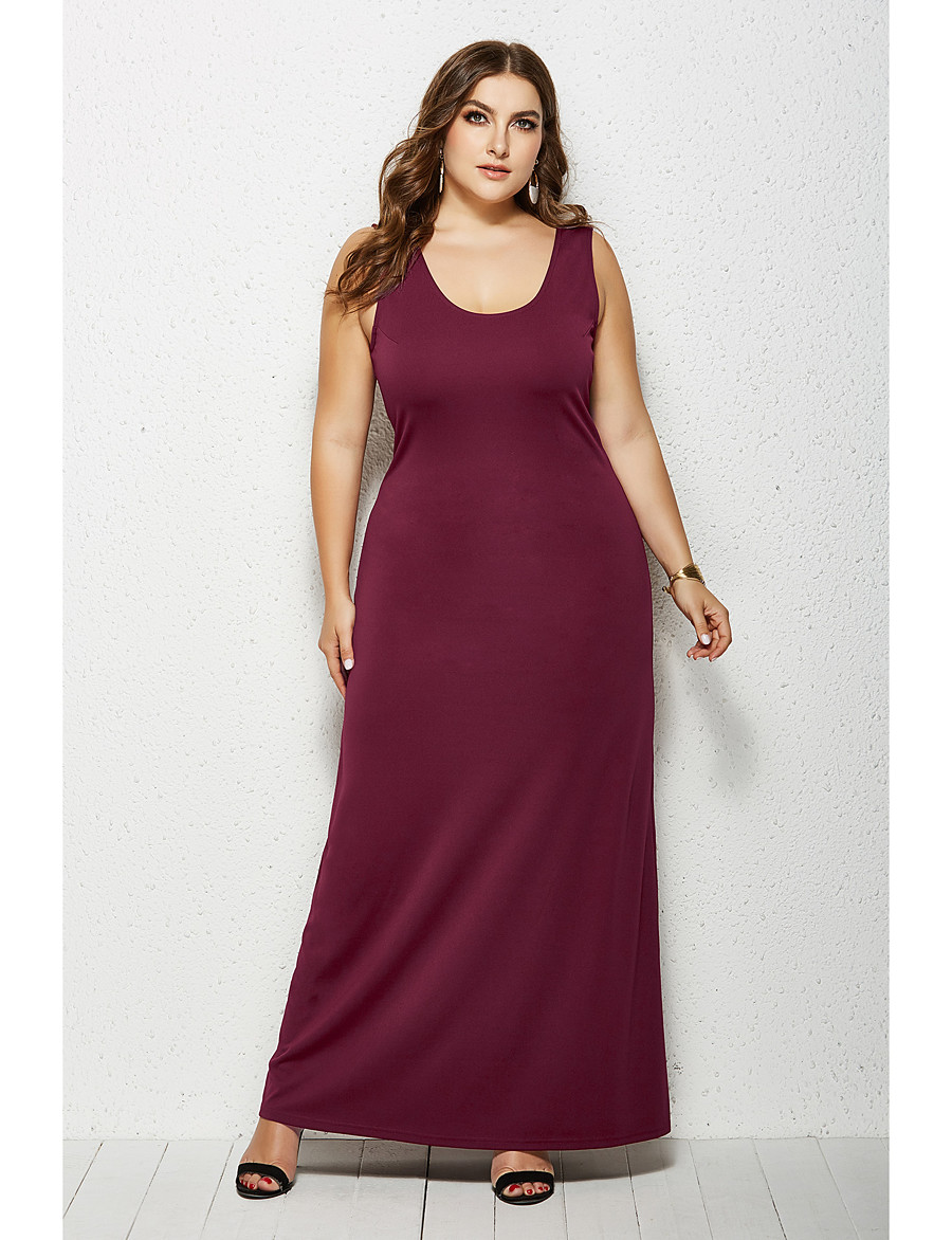 Women's Sheath Dress Maxi long Dress - Sleeveless Solid Color Summer Boat Neck Plus Size Casual 2020 White Black Yellow Wine Green Navy Blue XXL 3XL 4XL 5XL