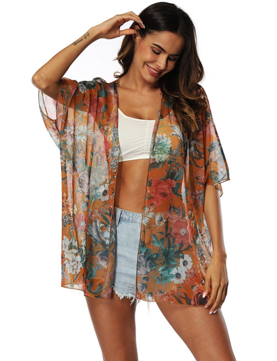 Women's Cover-Up Swimsuit Floral Swimwear Bathing Suits Orange