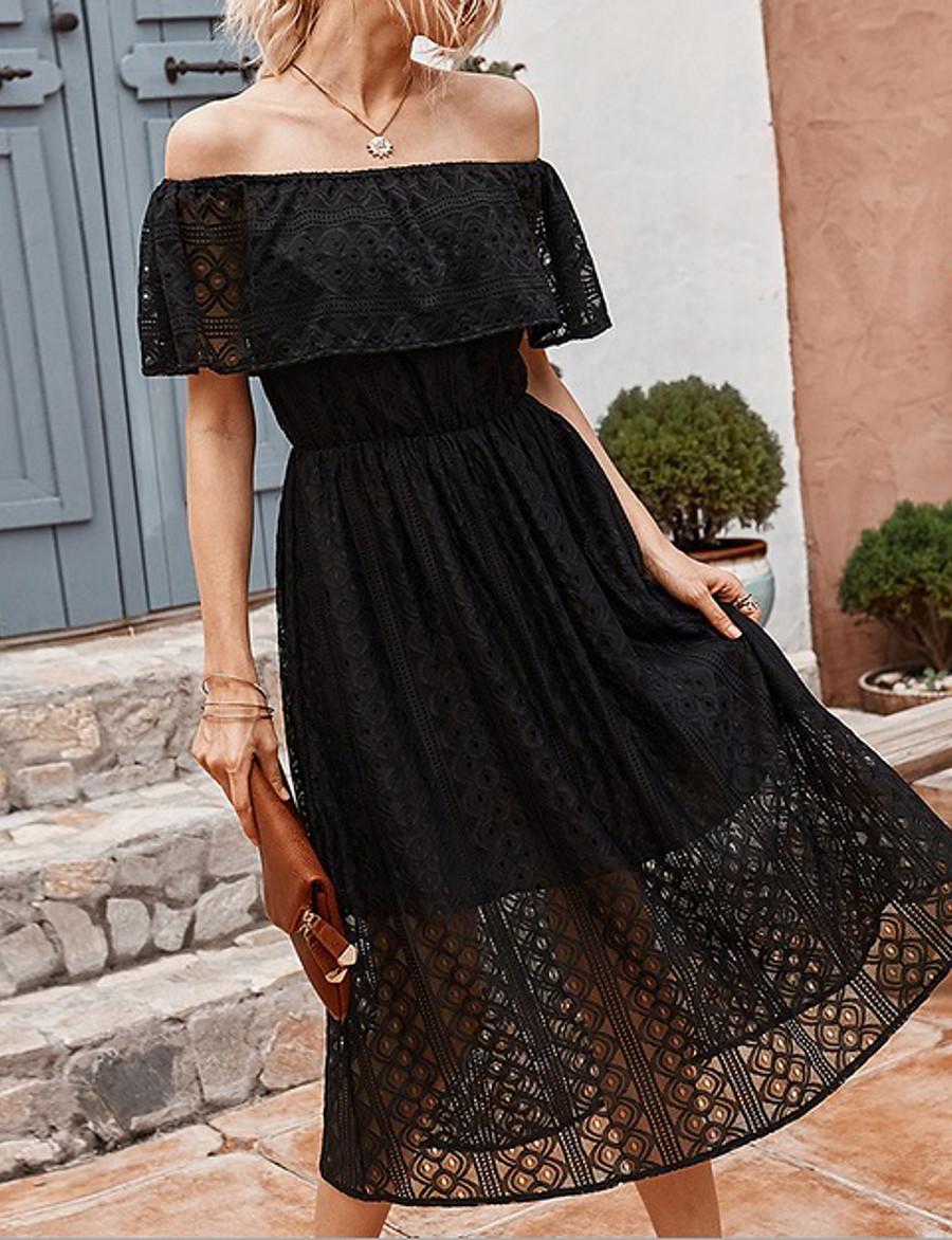 Women's A-Line Dress Midi Dress - Short Sleeve Solid Color Summer Off Shoulder Sexy 2020 Black Yellow Blushing Pink S M L XL
