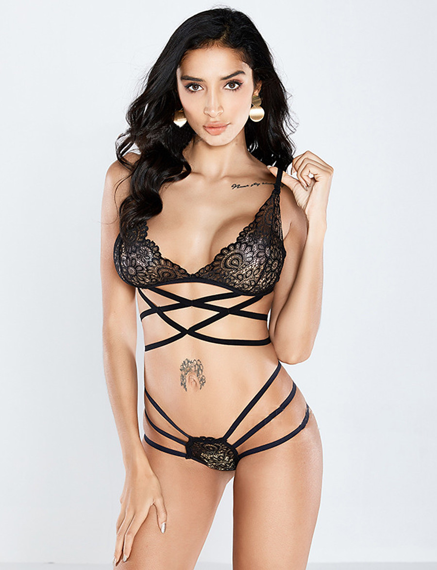 Women's Wireless Strapped Padless Demi-cup Bras & Panties Sets Solid Colored Super Sexy Lace Daily Wear Going out Black