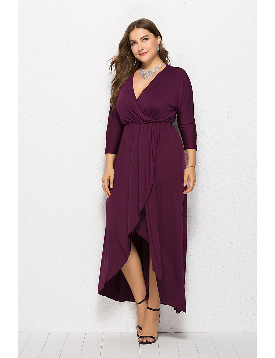 Women's Swing Dress Maxi long Dress - Long Sleeve Solid Color Summer V Neck Plus Size Elegant Sexy 2020 Black Purple Red Wine Army Green Green Royal Blue Navy Blue XL XXL 3XL 4XL