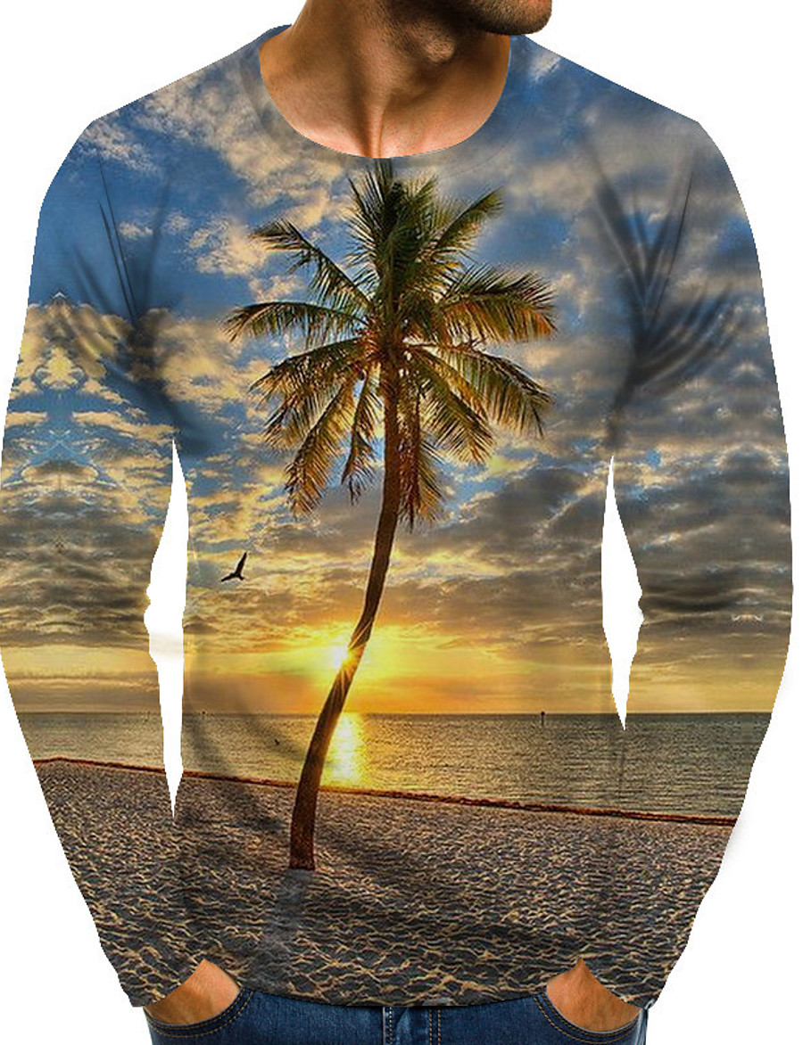 Men's T shirt Graphic Scenery Plus Size Print Long Sleeve Daily Tops Streetwear Exaggerated Rainbow