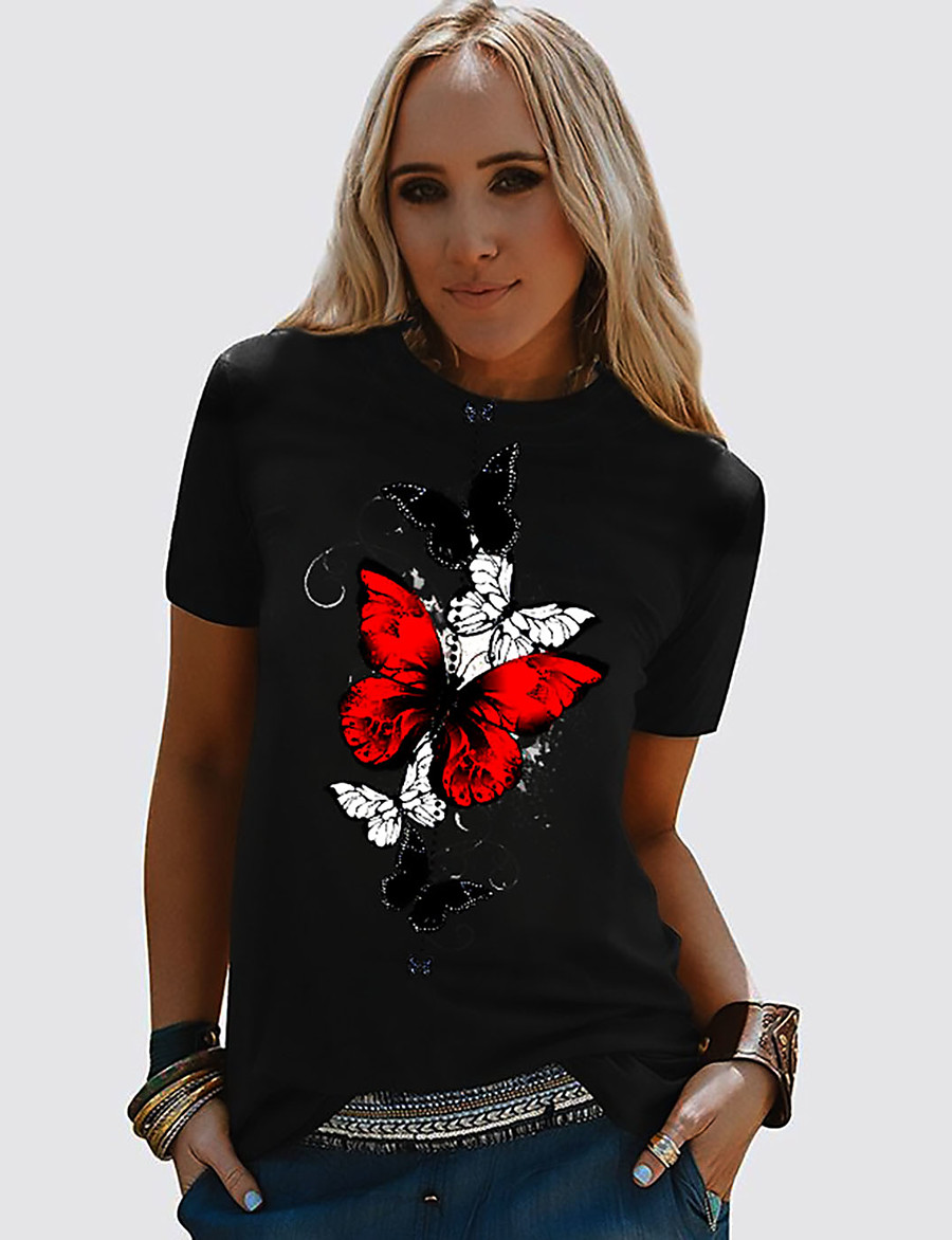 Women's T shirt Butterfly Graphic Prints Round Neck Basic Tops 100% Cotton Black