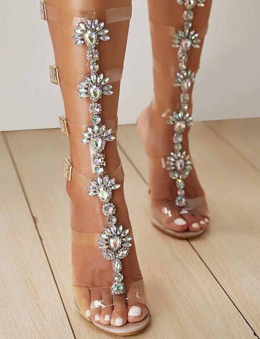 Femme Sandales Chaussures transparentes Escarpins Bout ouvert Quotidien Polyuréthane Strass Eté Rose