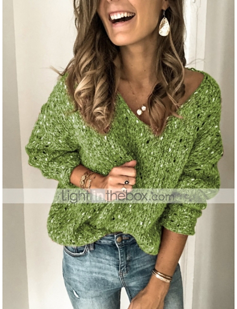 Women's Solid Colored Pullover Long Sleeve Sweater Cardigans V Neck Blue Green Gray