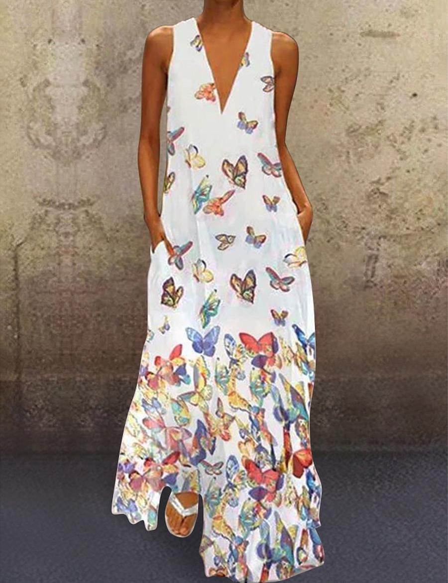 Women's A-Line Dress Maxi long Dress - Sleeveless Butterfly Animal Print Summer Deep V Plus Size Casual Hot Beach 2020 White Purple Yellow Blushing Pink Light Blue S M L XL XXL 3XL 4XL 5XL