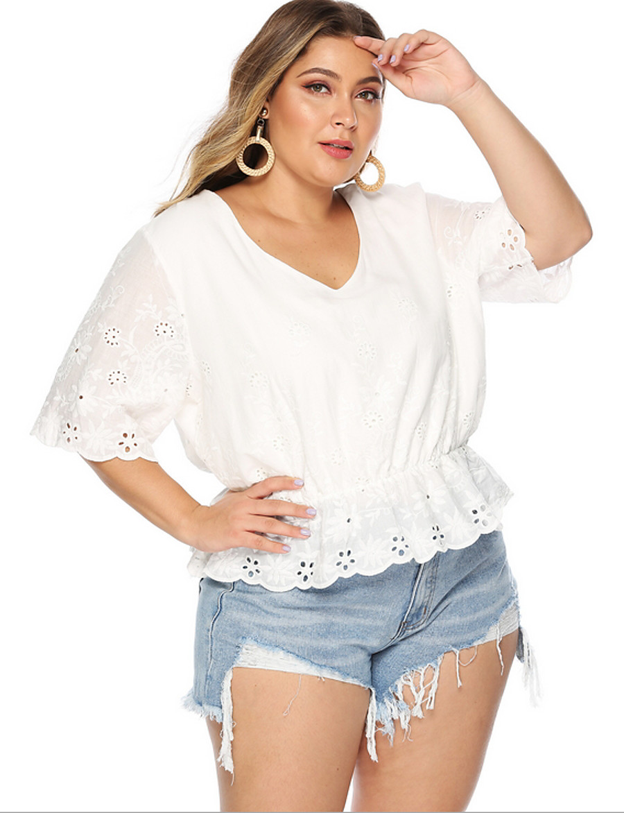 Women's Going out Plus Size T-shirt Solid Colored V Neck Tops Cotton Basic Top White