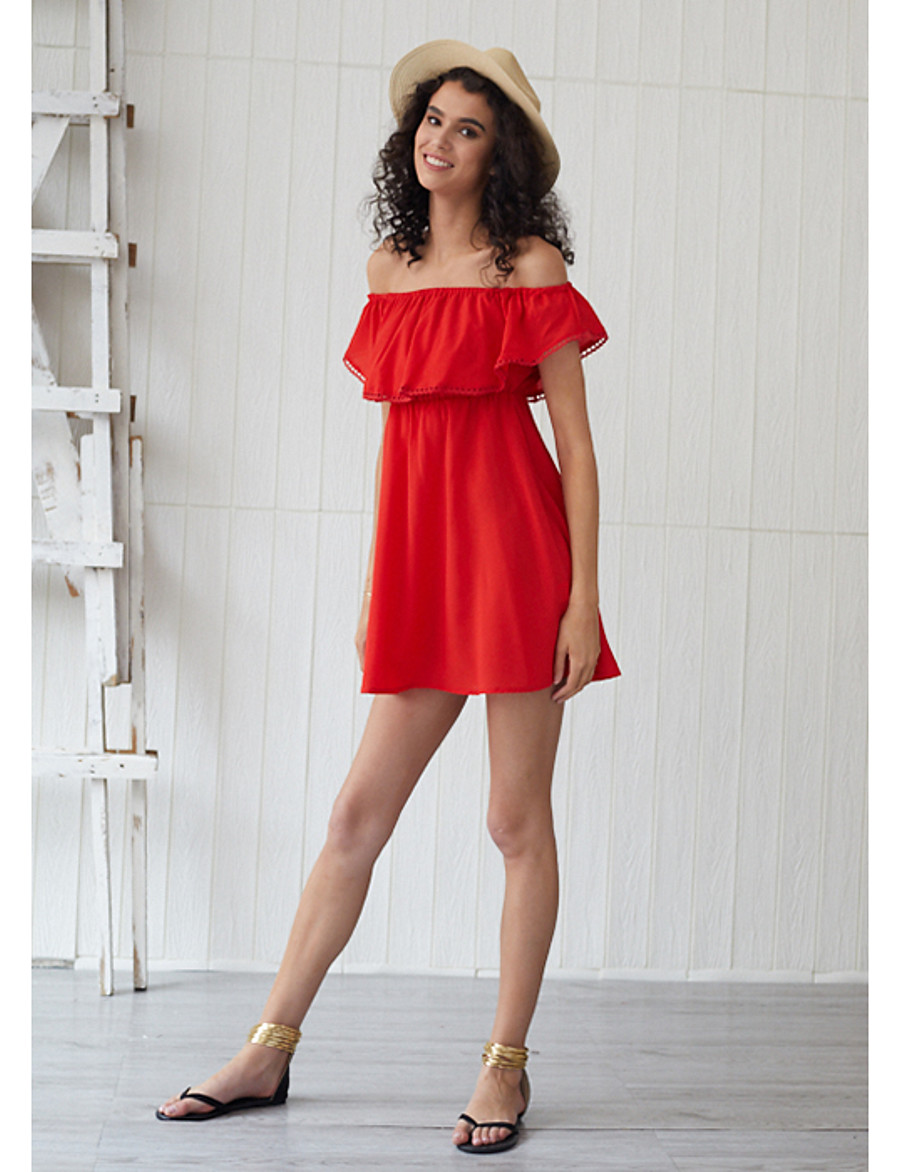 Women's Sundress Short Mini Dress - Short Sleeves Solid Color Ruched Summer Casual Elegant Holiday Going out 2020 Red S M L XL XXL