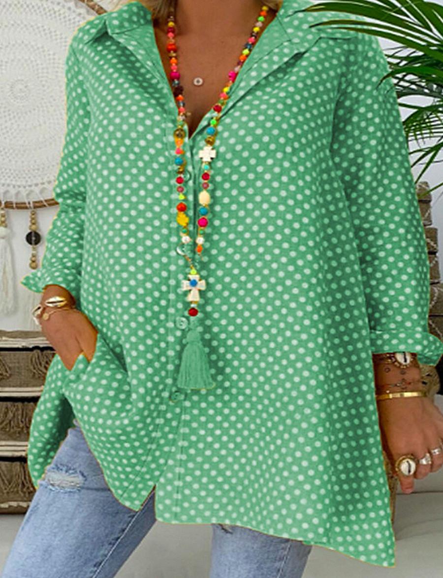 Women's Plus Size Polka Dot Loose Shirt Shirt Collar Blue / Red / Yellow / Blushing Pink / Green