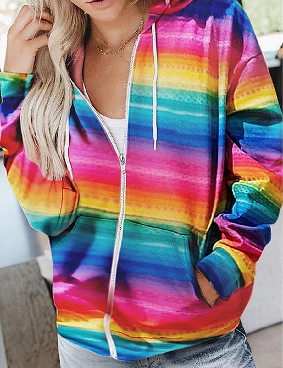 Women's Zip Up Hoodie Sweatshirt Color Block Zip Up Basic Hoodies Sweatshirts  Fuchsia