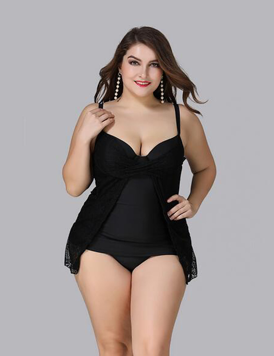 Women's One-piece Swimsuit Solid Colored Strap Swimwear Bathing Suits Black